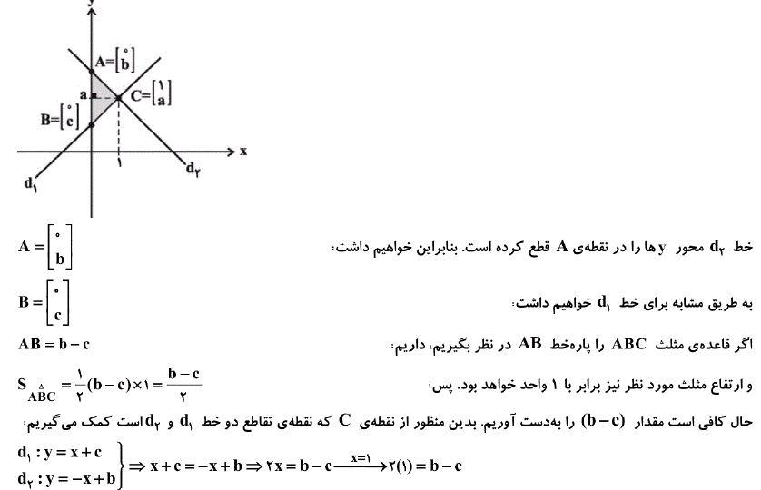 پاسخ تست دامدار قلمچی از یافتن مساحت حاصل از تقاطع خطوط